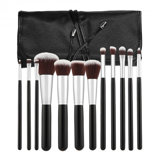 MIMO by Tools For Beauty, Set Pennelli Makeup Viso 12 Pezzi, Nero