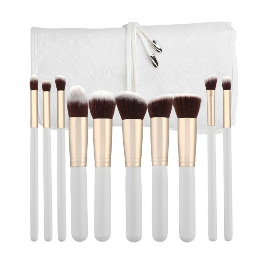 MIMO by Tools For Beauty, Set Pennelli Makeup Viso 10 Pezzi, Bianco