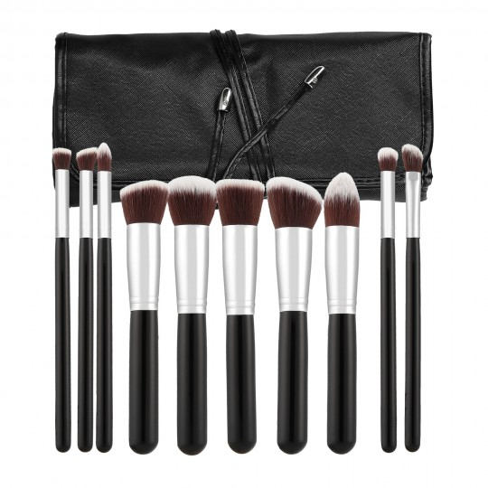 MIMO by Tools For Beauty, Set Pennelli Makeup Viso 10 Pezzi, Nero