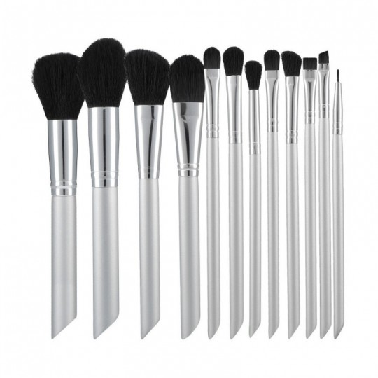 MIMO by Tools For Beauty, Set Pennelli Makeup Viso 18 Pezzi, Bianco