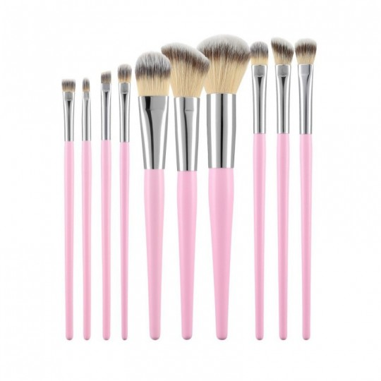 MIMO by Tools For Beauty, Set Pennelli Makeup Viso 10 Pezzi, Rosa