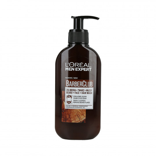L'OREAL PARIS MEN EXPERT BARBER CLUB Gel detergente per barba, viso e capelli 200ml