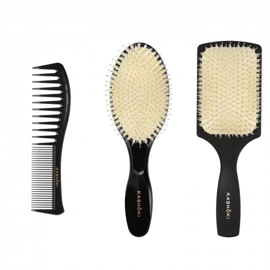 Kashōki by Tools For Beauty, HASU Set Spazzole Per Capelli, 1 x Spazzola Districante, 1 x Spazzola Rotonda, 1 x Pettine - 1