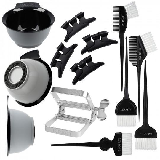 LUSSONI by Tools For Beauty, 10 Pezzi Kit Colorazione Capelli: Ciotola, Pennelli Tinta, Divisori Capelli, Spremi Tubi - 1