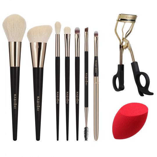 Kashōki by Tools For Beauty, HIMAWARI Set Pennelli Makeup Con Piegaciglia E Spugna, 9 Pezzi - 1
