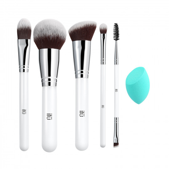 ilū by Tools For Beauty, Everyday Essentials Set Di Pennelli Trucco Viso Makeup Professionale Con Spugnetta 6 Pezzi - 1