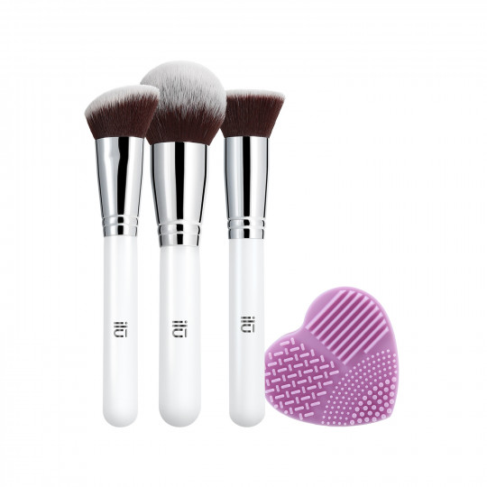 ILŪ by Tools For Beauty Must Have Set Di Pennelli Trucco Viso Makeup Professionale Con Pulisci Pennello 4 Pezzi - 1