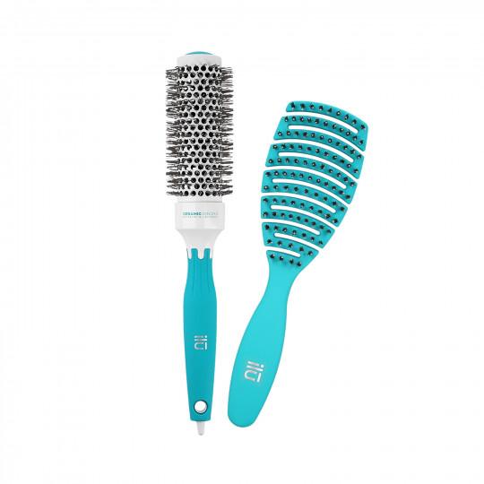 ilū by Tools For Beauty, Set di Spazzole professionali per Capelli Hair Brush per Acconciatura, Turchese, 2 pz