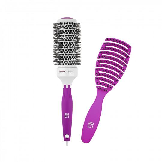 ilū Set di Spazzole professionali per Capelli Hair Brush per Acconciatura, Viola, 2 pz