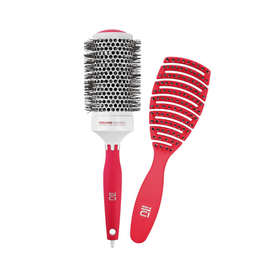 ilū Set di Spazzole professionali per Capelli Hair Brush per Acconciatura, Rosso, 2 pz