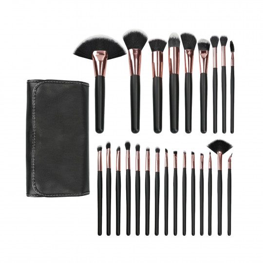 MIMO by Tools For Beauty, Set di pennelli trucco 24 pezzi, nero