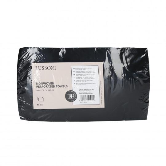 LUSSONI Asciugamano Non Tessuto Traforato Monouso, Nero, 70 cm x 40 cm, 50 Pezzi