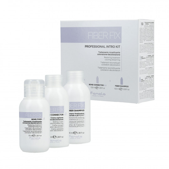 FANOLA FIBER FIX Professional Intro Kit Set Bond Fixer 70ml + Bond Connector 100ml + Shampoo 100ml - 1
