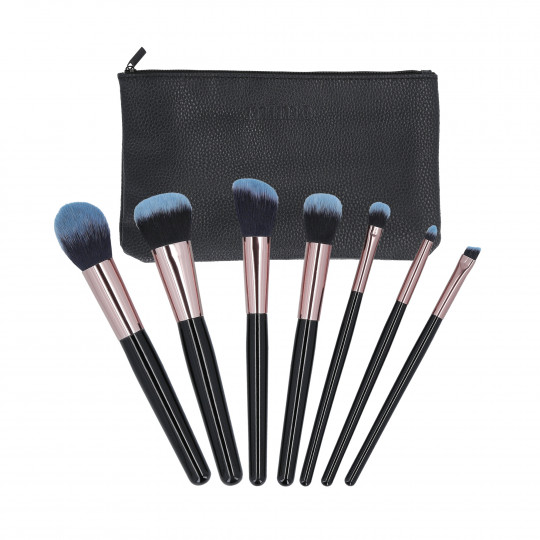 MIMO by Tools For Beauty, set di 7 pennelli per trucco pezzi con custodia, Nero