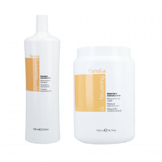 FANOLA NOURISHING Set per capelli secchi Shampoo 1000ml + Maschera per capelli 1500ml - 1