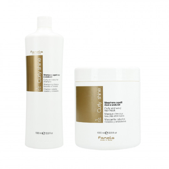 FANOLA CURLY SHINE Set per capelli ricci Shampoo 1000ml + Maschera 1000ml - 1